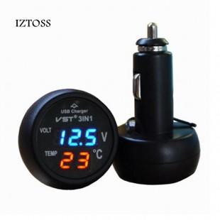 Вольтметр и термометр в прикуриватель 12-24 вольта