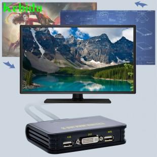 KVM переключатель  2-порт USB 2.0 DVI