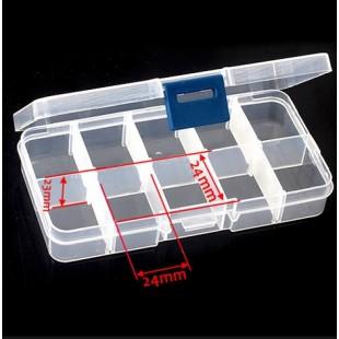 Пустая коробка с 10 отсеками для хранения накладных ногтей и других мелочей
