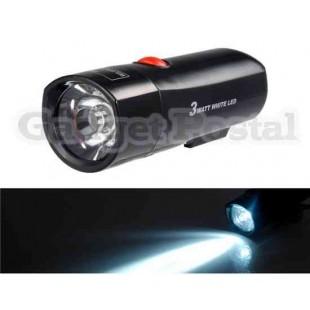 3W светодиодных Белый свет велосипеда передний защитный Light (черный)