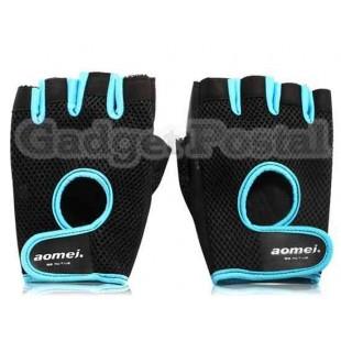 Aomej 6708 дышащий Половина Finger Спорт Перчатки (черный)