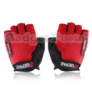 Новый Велоспорт велосипед Спорта на открытом воздухе велосипедов Anti-Slip Дышащие Half-Finger перчатки размер M (черный + красный)