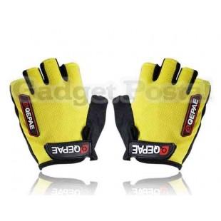 Новый Велоспорт велосипед Спорта на открытом воздухе велосипедов Anti-Slip Дышащие Half-Finger перчатки размер M (черный + желтый)