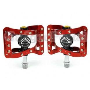 TAVTA велосипед MTB BMX Платформа плоским Педали ЧПУ Алюминиевый шпинделя (черный + красный)