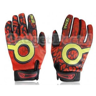 Новый Велоспорт велосипед Anti-Slip Дышащие Пламя Full-Finger перчатки Размер XL (красный)