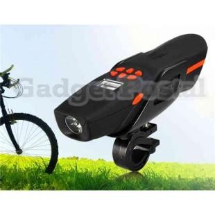 CA-0413 Многофункциональный велосипедов плеера / Интерком / Освещение / FM (красный + черный)