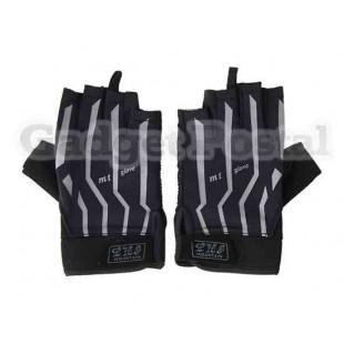 Лайкра и кожа Половина Finger велосипедов / Велоспорт перчатки (черный)