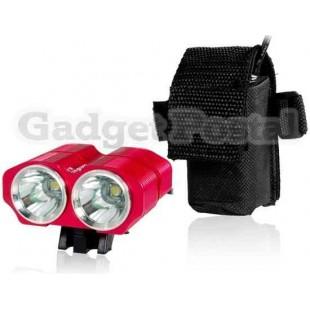 LusteFire BL-2 2 х CREE XM-L U2 2400LM 4-режиме супер яркий светодиодный фонарик велосипедов (красный)