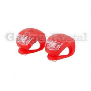 Пара 2-LED 3-Mode красный свет Frog велосипедные фары (красный)