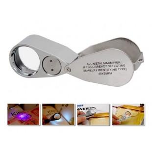 40X ювелирная складная лупа с светодиодной подсветкой
