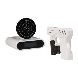 Инфракрасный пушки стрелять Target Будильник (белый)