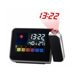 Часы-метеостанция с будильником и проектором времени с ЖК экраном.