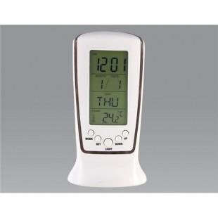 Цифровой дисплей Будильник с календарем, температура (белый)