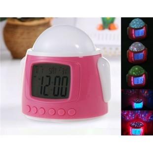 Android Робот образный Многофункциональный проектор часов (розовый)
