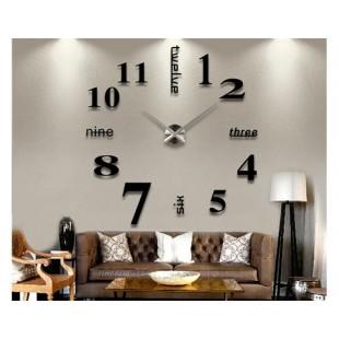 39 и Quot; W DIY 3D Номера зеркал Наклейка Black настенные часы