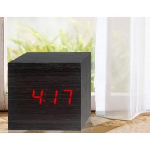 Дерево Дизайн Деревянные часы Декоративные рабочего с функцией голосового управления (черный)