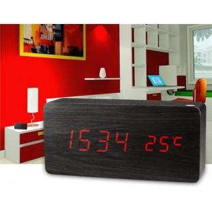 Креативный Деревянный Дизайн,  декоративные часы рабочего с функцией голосового управления (черный)