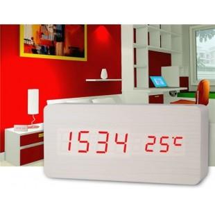 Творческая Wood Design Деревянные часы Декоративные Desktop с функцией голосового управления (белый)