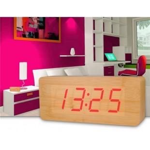 Творческий Дерево Дизайн Деревянные часы Декоративные рабочего с функцией голосового управления
