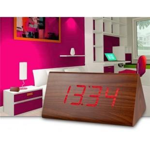 Творческий Дерево Дизайн Деревянные часы Декоративные рабочего с функцией голосового управления (коричневый)