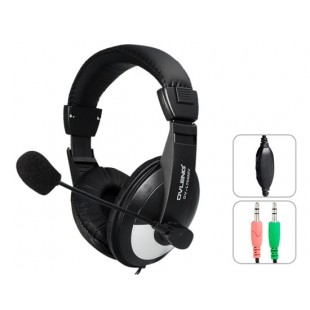 OVLENG ов L750MV 3.5 мм стерео Голосовой наушники с микрофоном &амп; 1.8 м кабель (черный)