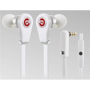 Разъем 3,5 мм наушники-вкладыши Стиль наушники с микрофоном и усилителем; 1,2 м плоский кабель (Белый)