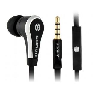 Sonun SN-C09 1.2m Плоский кабель-вкладыши Наушники с микрофоном (черный)