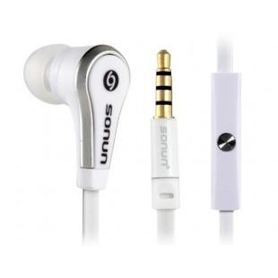 Sonun СН-С09 1,2 м плоский кабель-вкладыши наушники с микрофоном (Белый)