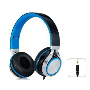 SOIN MS200 разъем 3,5 мм Складная Stereo На ухе гарнитура наушники с микрофоном и 1,5 м кабель (черный + синий)