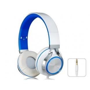 SOIN MS200 разъем 3,5 мм Складная Stereo На ухе гарнитура наушники с микрофоном и 1,5 м кабель (белый + синий)