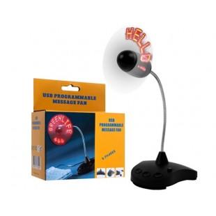 Программируемый LED Сообщение USB вентилятор (черный)