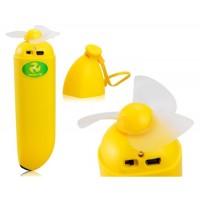 Купить Творческие формы банана Перезаряжаемые мини USB-вентилятор (желтый)