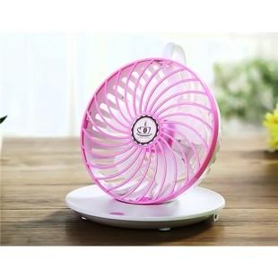 Креативный дизайн кофейной чашки висит вращающийся USB-вентилятор (розовый)