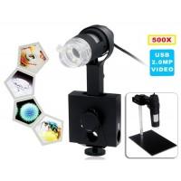 500X 2.0MP Оптический Электронный Цифровой USB-микроскоп (черный)