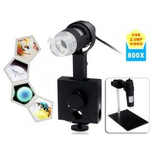 800X Оптический Электронный 2.0MP USB цифровой микроскоп с подставкой (черный)