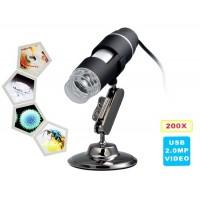200-кратное увеличение 8-LED USB цифровой микроскоп (черный)