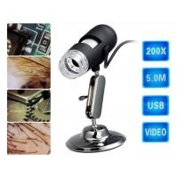 200X 5.0MP USB цифровой микроскоп (черный)