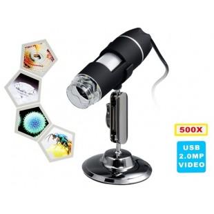 500x Увеличение 8-LED USB цифровой микроскоп с подставкой (черный)