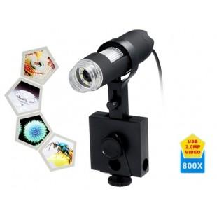 800x Увеличение 8-LED USB цифровой микроскоп с регулируемой подставкой (черный)