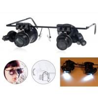 Купить 9892A-2 Dual Head 20-кратным увеличением Очки с светодиодные для ремонта часов (черный)