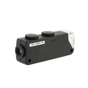 Мини высокой четкости 60X-100X подсветкой Увеличить LED микроскоп (черный)