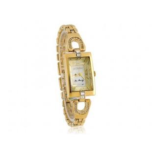 Юлий ja-443 3D квадратный Циферблат из нержавеющей стальной ленты для женщин`ы часы с бриллиантом украшения (золото) модель YW0420Y