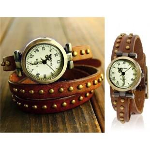 HotItem заклепки оформлен тремя Петли Теплые Браслет Аналоговые часы Поиск (коричневый) модель YW0639X