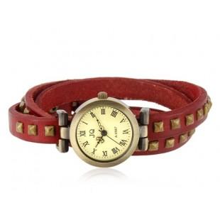 Заклепки Оформлены Три Петли Теплые Браслет Аналоговые Часы (Красный) модель YW0640R