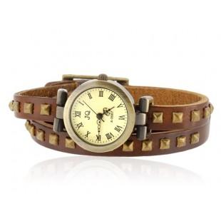 Заклепка оформлен тремя Петли Теплые Браслет Аналоговые часы (коричневый) модель YW0640X