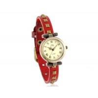 Круглый Циферблат Ретро аналоговые часы с заклепками украшения Кожаный ремешок (Красный)