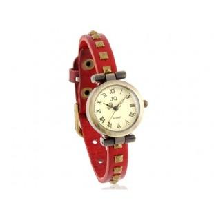 Круглый Циферблат Ретро аналоговые часы с заклепками украшения Кожаный ремешок (Красный) модель YW0641R