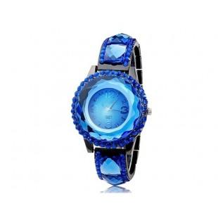 SG1155 Круглый циферблат аналогового дисплея кварцевый механизм Стильные часы с Аллой и Кристал Награжден чехол и ремешок (синий) модель YW1008L
