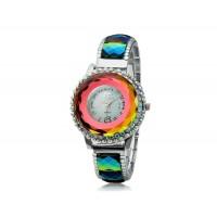 SG1155 круглый Циферблат аналогового дисплея кварцевый стильные наручные часы с сплав &амп; Кристалл оформлен чехол и ремень и цветовой контраст