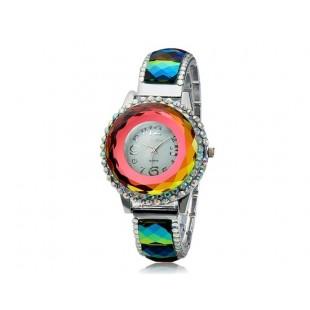 SG1155 круглый Циферблат аналогового дисплея кварцевый стильные наручные часы с сплав &амп; Кристалл оформлен чехол и ремень и цветовой контраст модель YW1008X